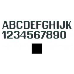 lettera nera D e numeri mm.250